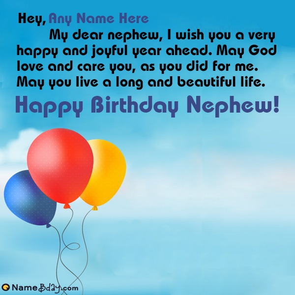 Happy Birthday Greetings For Nephew With Name