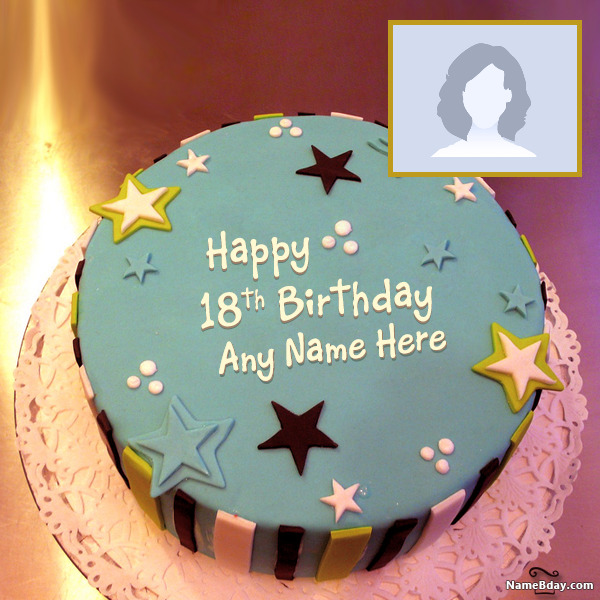 Cool Happy 18Th Birthday Cakes With Name And Photo Funny Birthday Cards Online Fluifree Goldxyz
