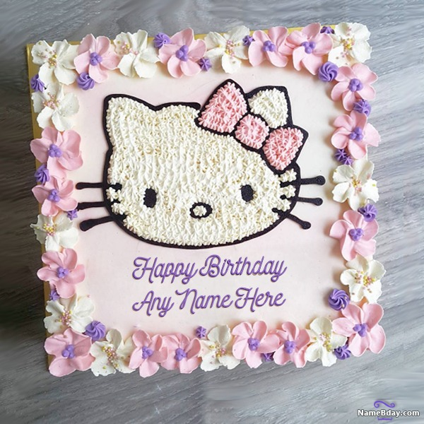 Enjoyable Hello Kitty Birthday Cake Images For Kids With Name Personalised Birthday Cards Paralily Jamesorg