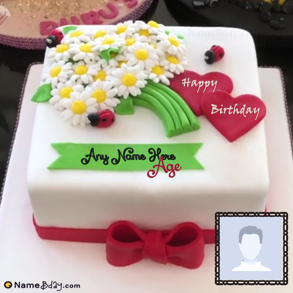 Cool Beautiful Name Birthday Cake With Photo Funny Birthday Cards Online Barepcheapnameinfo