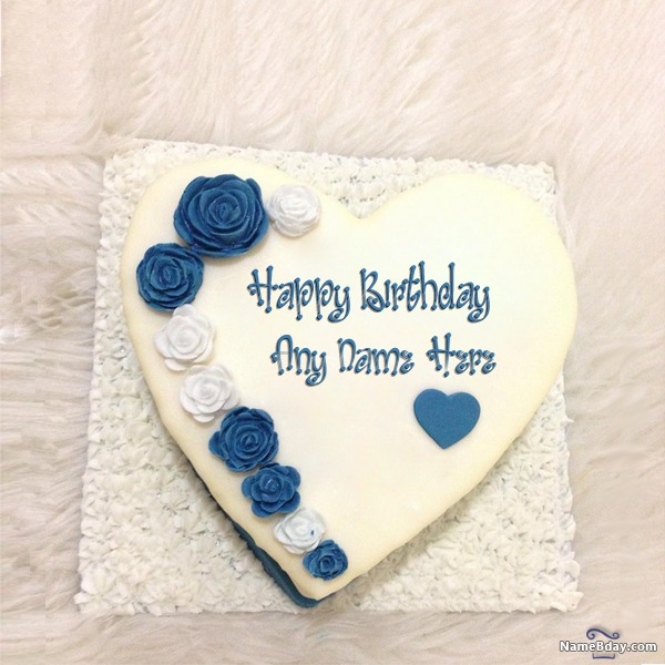 Marvelous Romantic Birthday Cake For Wife With Name And Photo Funny Birthday Cards Online Overcheapnameinfo