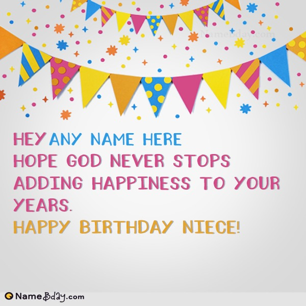 Write Name On Happy Birthday Wishes For Niece