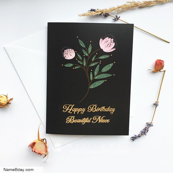 Happy Birthday Beautiful Niece Image Of Cake, Card, Wishes