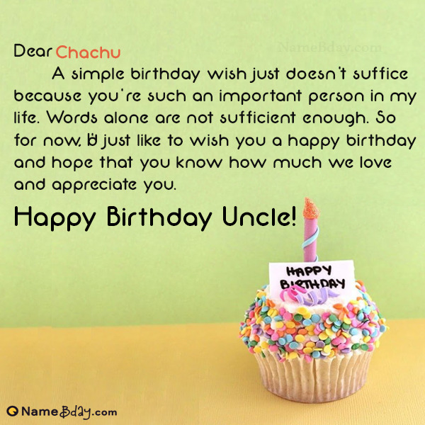 happy birthday chachu image of cake card wishes