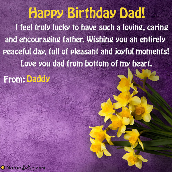 Happy Birthday Dad Wishes With Your Name