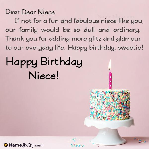 Happy Birthday Dear Niece Image Of Cake, Card, Wishes