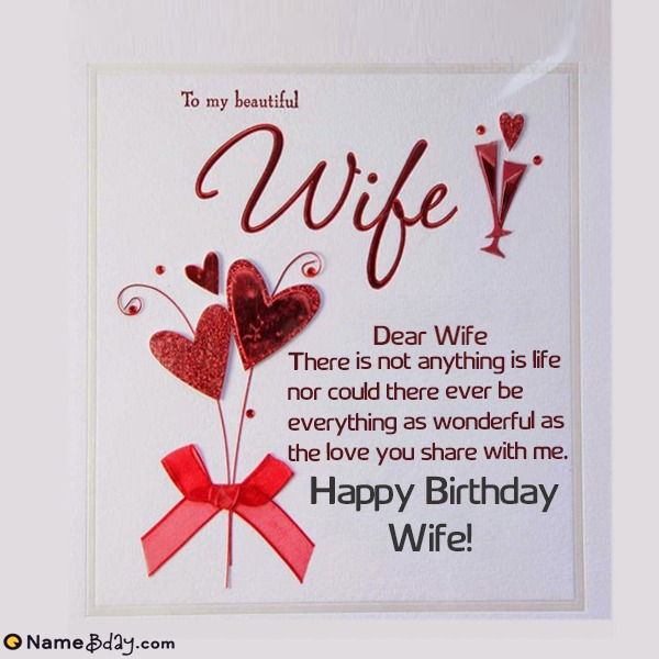 Happy Birthday Dear Wife Image Of Cake, Card, Wishes