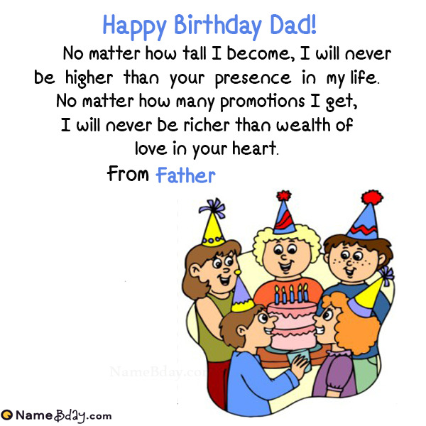 Name Birthday Wishes For Dad From Daughter