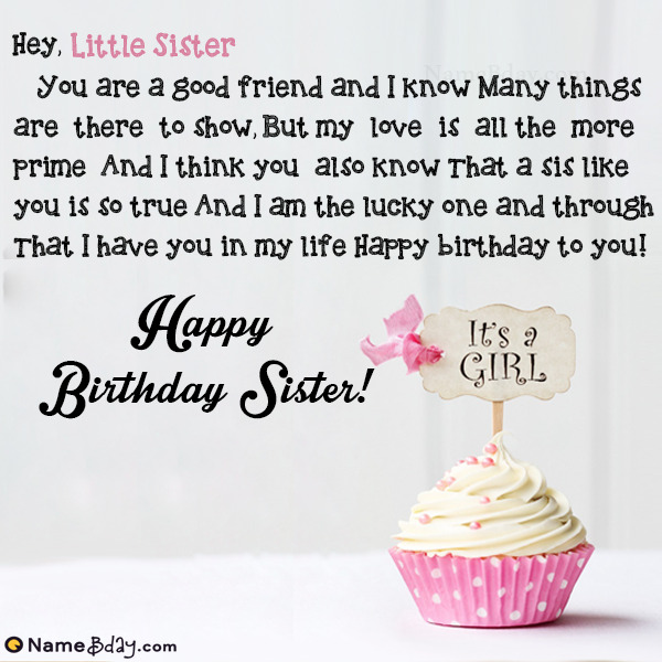 happy birthday little sister image of cake card wishes