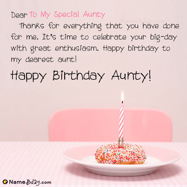 Say Happy Birthday Aunty With Name