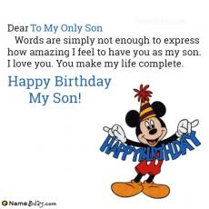 happy birthday to my only son